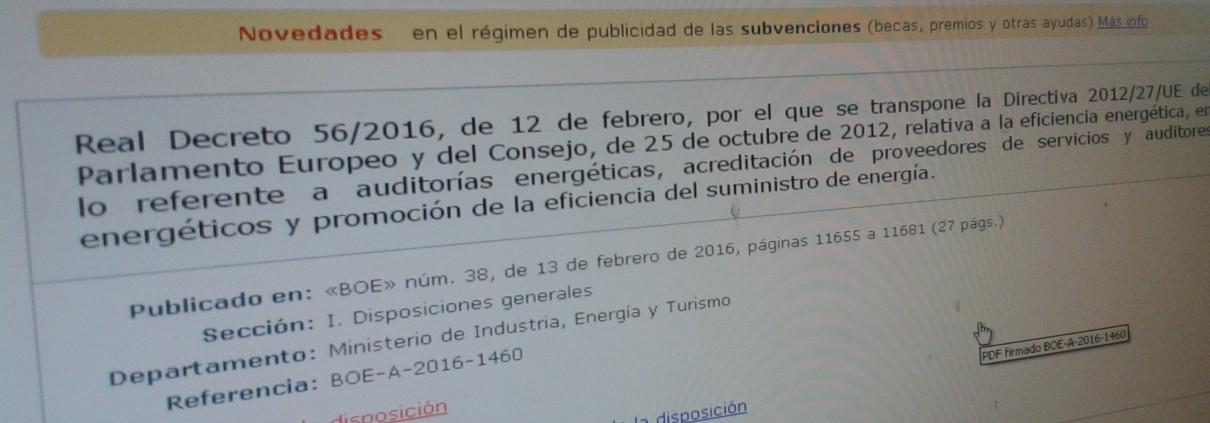 Entra en vigor el Real Decreto relativo a auditorías energéticas